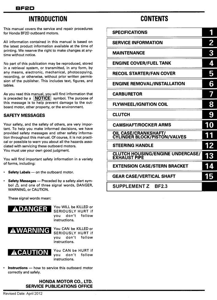 honda bf2 bf2 3 marine outboard service repair shop manual honda rh publications powerequipment honda com Honda 9Hp Engine Shop Manual I&T Shop Manuals