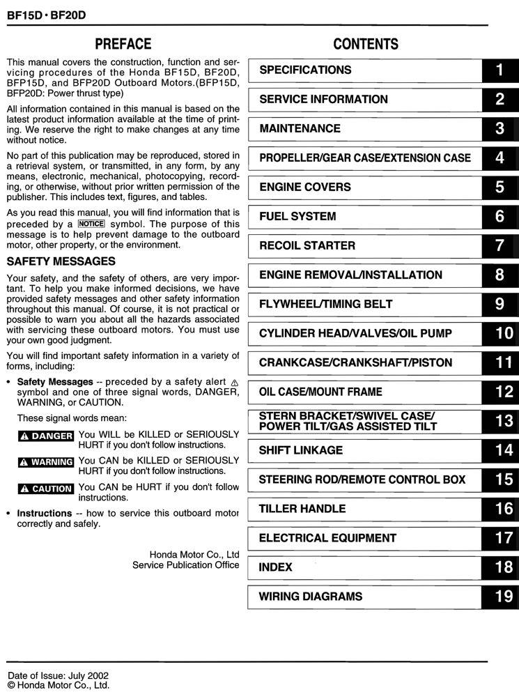 Honda BF15 BF20 D Model Marine Outboard Service Repair Shop Manual