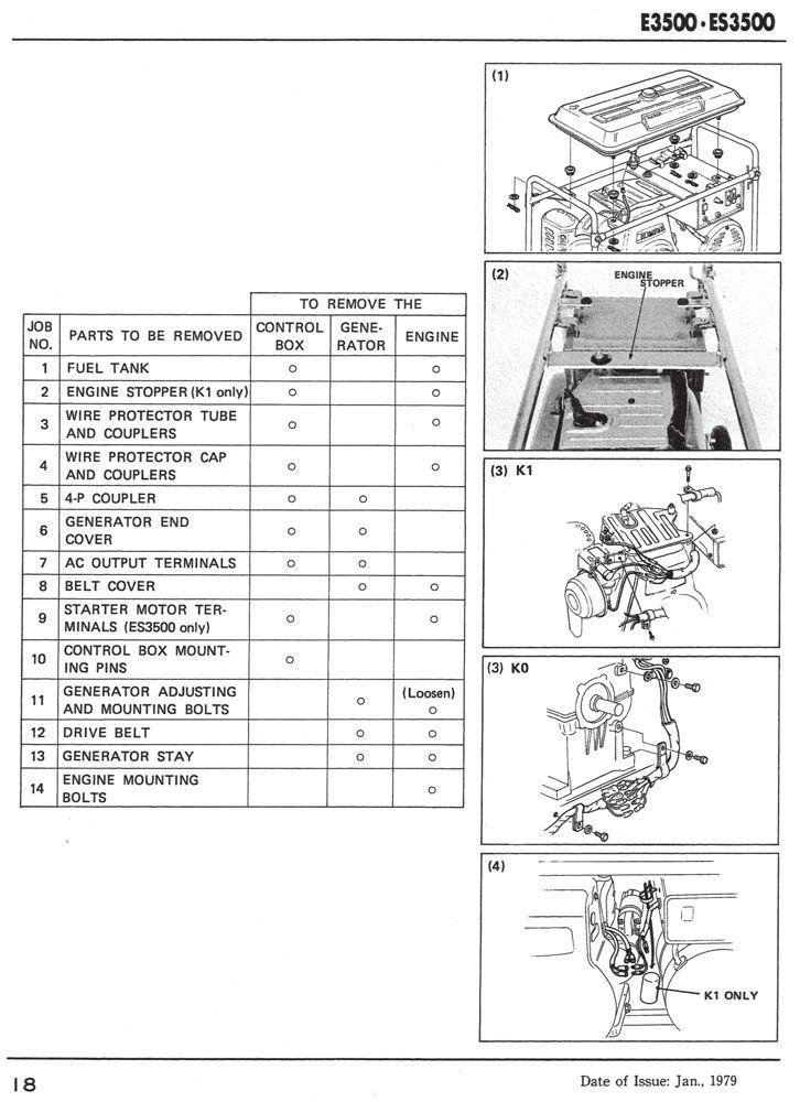 E3500 Es3500 Generator Shop Manual