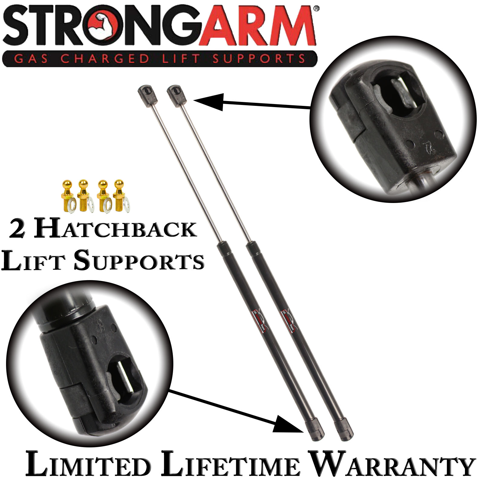 2 StrongArm 4639 Fits Mazda MX-6 Hatchback Lift Supports With Spoiler Qty