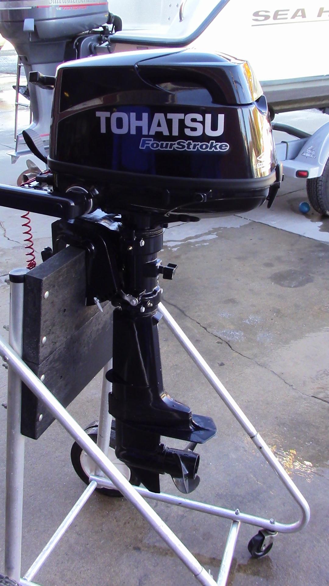 Used 2016 Tohatsu Mfs6cs 6hp 4 Stroke Tiller Outboard Boat
