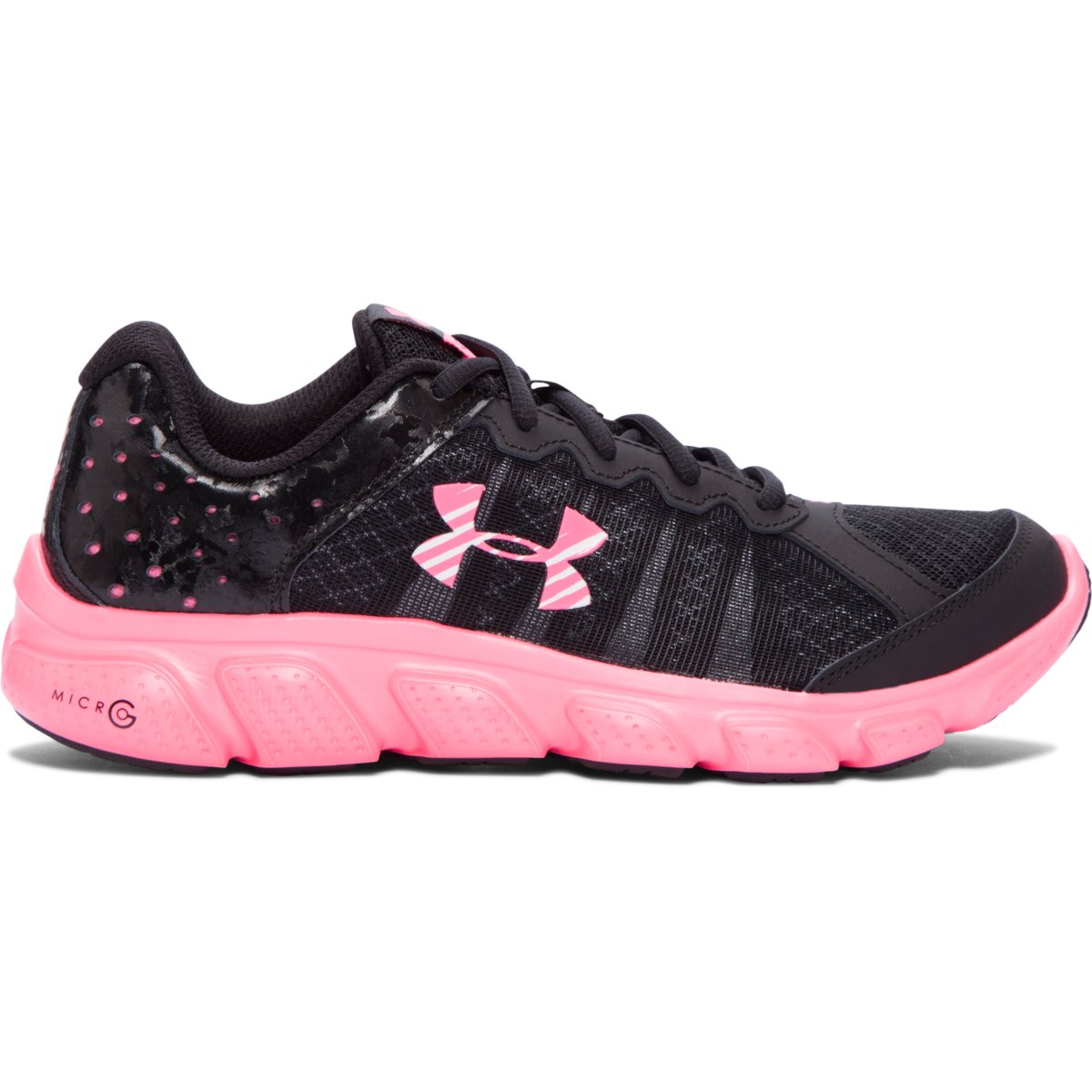 Details about Girl s Under Armour Micro G Assert 6 Running Shoe Black Mojo  Pink 065377b95e540