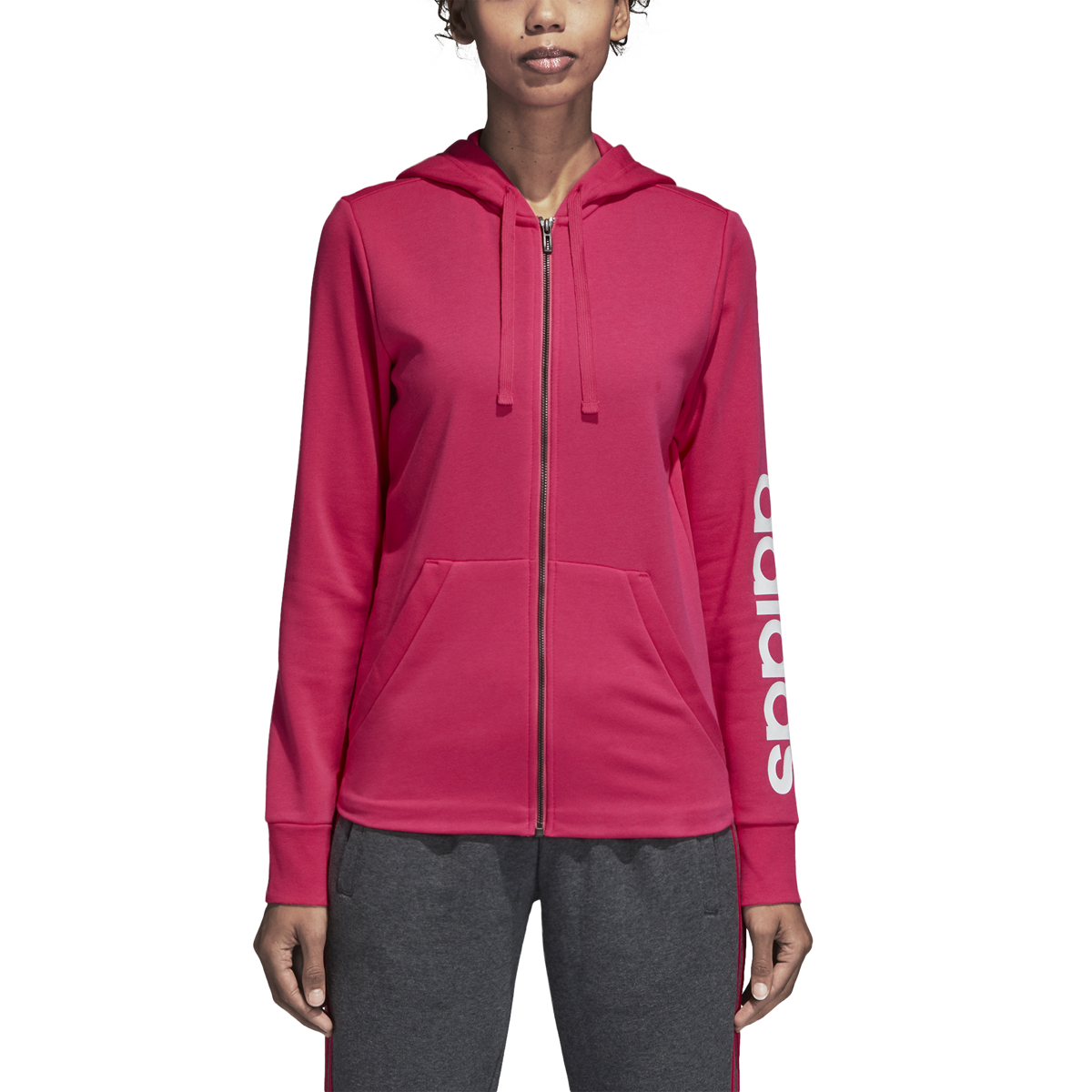 the best attitude 91d90 99217 Details about Womens Adidas Essentials Linear Full Zip Hoodie Real  MagentaWhite