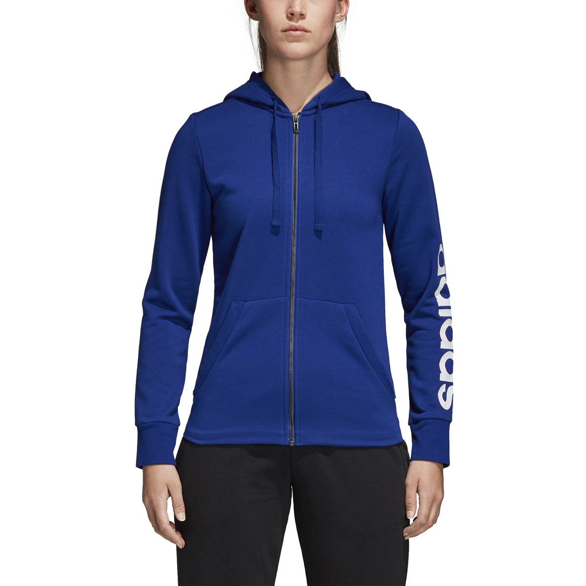 Details about Women's Adidas Essentials Linear Full Zip Hoodie Mystery InkWhite