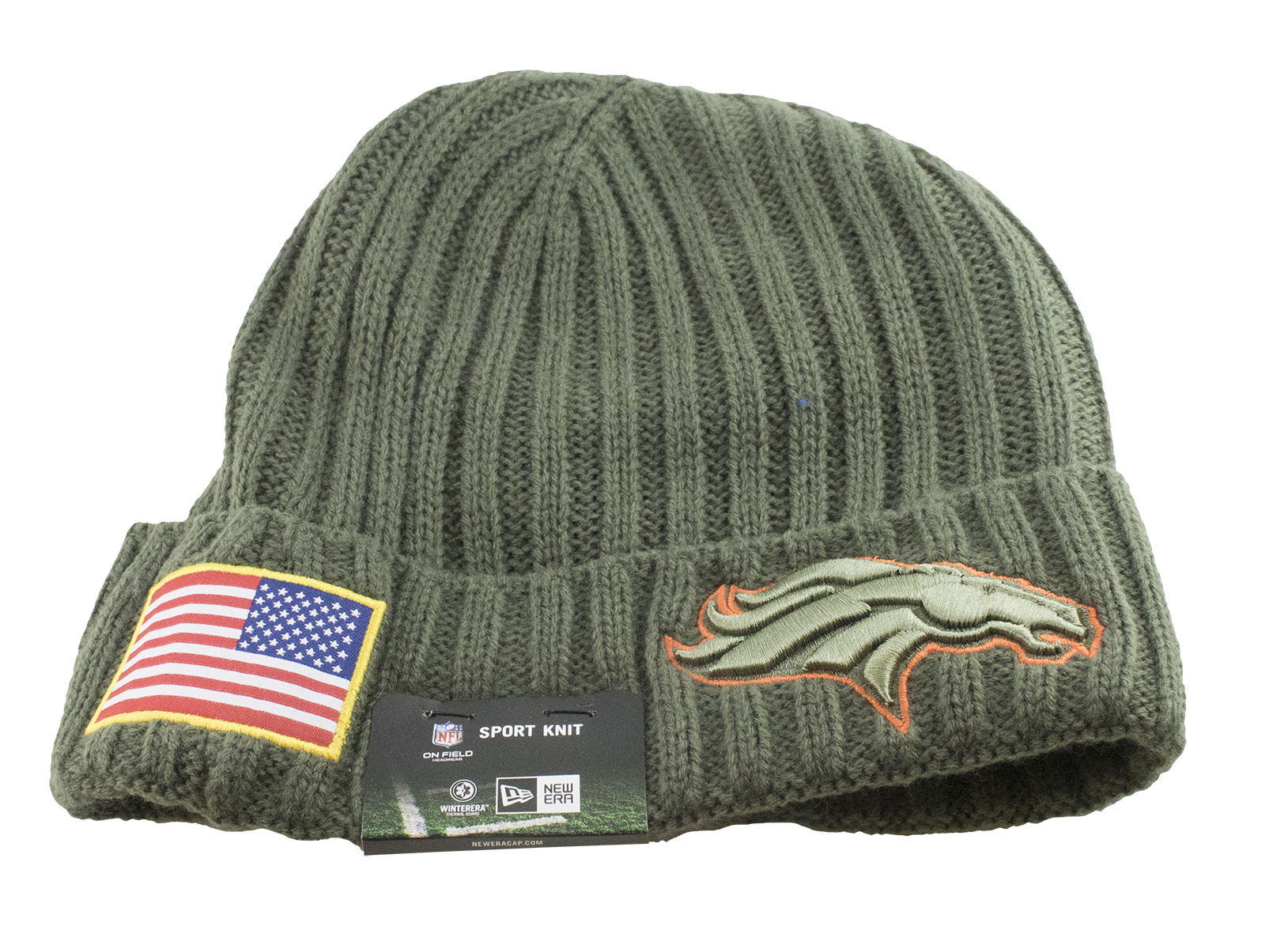 e65bac18b Details about Men s New Era Men s Broncos New Era 2017 Salute To Service  Cuffed Knit Hat Olive