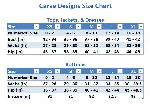 Carve Designs Salters Reef Tights size chart