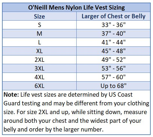 O'Neill Mens Superlite Life Vest: US Coast Guard Approved Nylon Lifejacket size chart