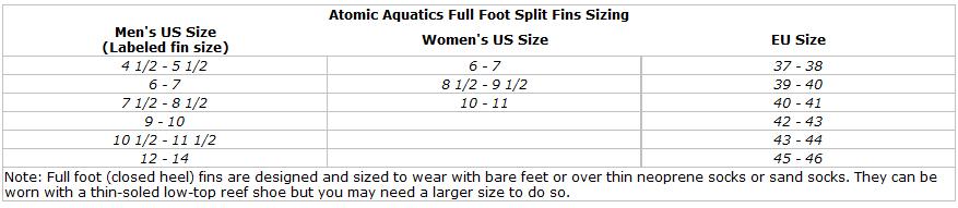 Atomic Aquatics High Performance Full Foot Split Fin for Scuba & Snorkeling size chart