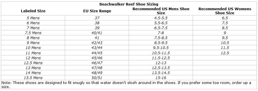 Deep See Beachwalker Men's Water Shoes: Neoprene Low-Top Tropical Booties size chart