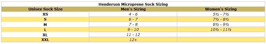 Henderson Microprene 2 fin socks size chart