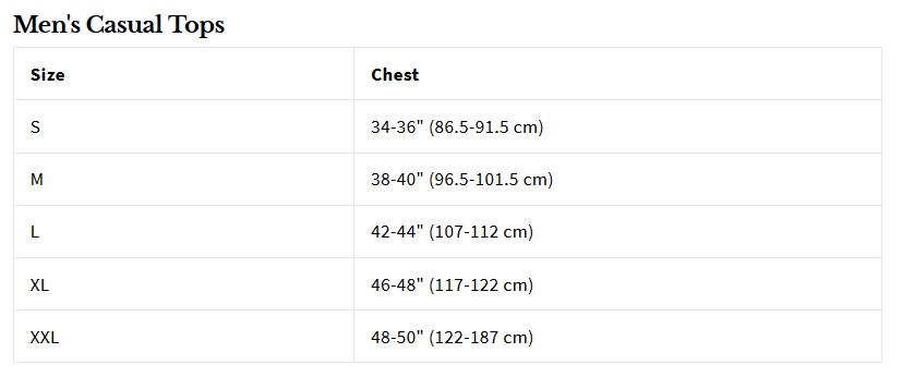 Level Six Men's Coastal Shortsleeve Sun Shirt size chart