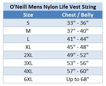 O'Neill Mens Superlite Life Vest Nylon US Coast Guard Approved Lifejacket size chart