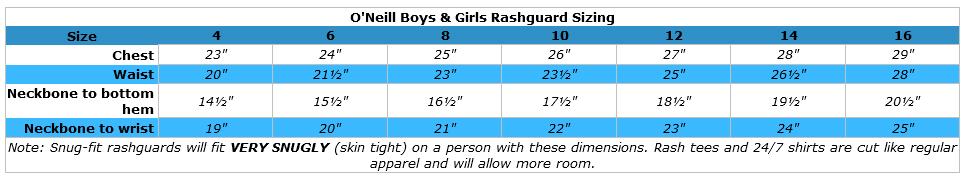 O'Neill kids basic shortsleeve sunshirt size chart