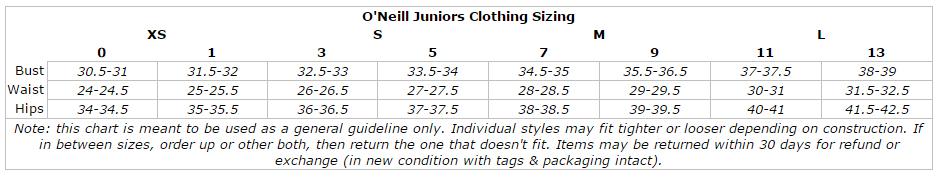 O'Neill Caspian women's long solid boardshorts size chart