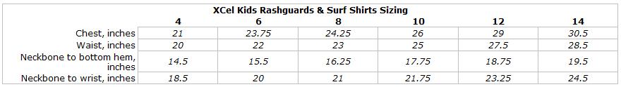 XCel Ventx Kids Breathable Sun Tee: Looser Fit Rashguard Swim Shirt 25+UV size chart