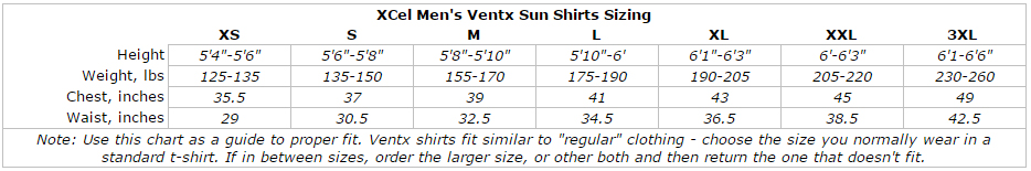 XCel Mens Longsleeve Heathered Ventx Sun and Swim Shirt: 30+SPF Looser Fit Rashguard Tee size chart
