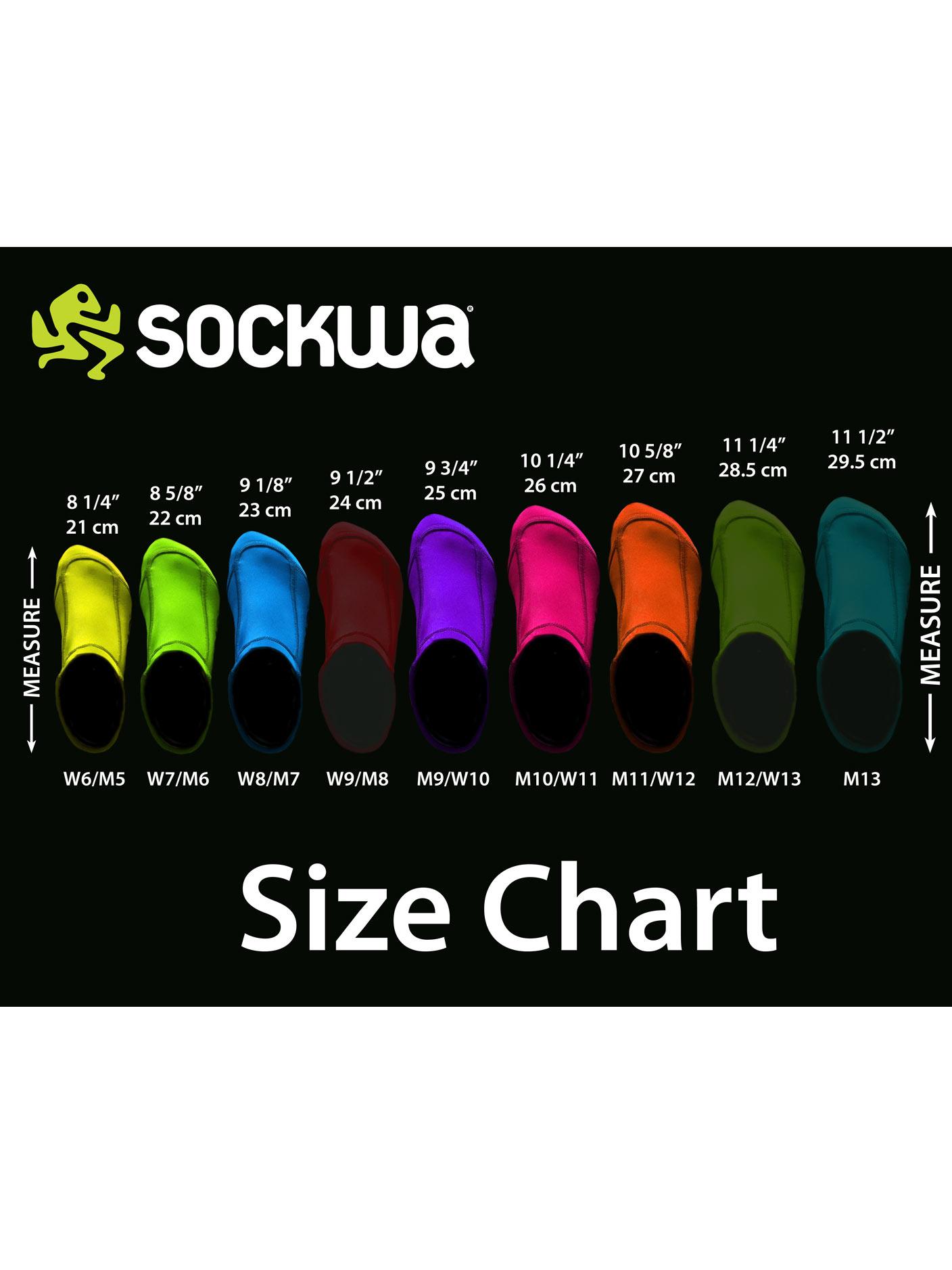 Sockwa Playa Lo Beach, Sand, and Watersports Sock size chart