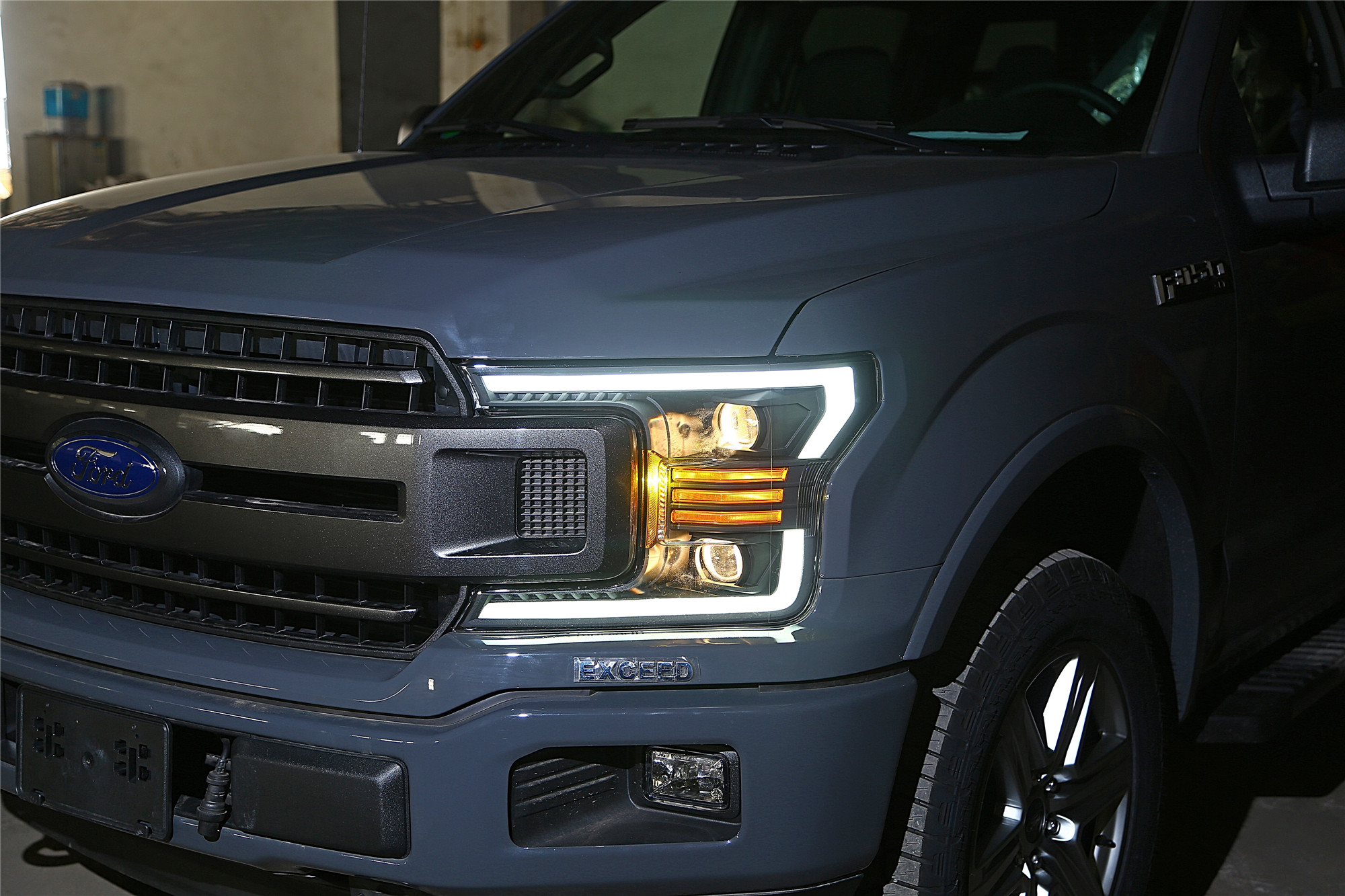 Led Headlights For F150 >> Details About 2018 2019 Ford F150 F 150 Led Tube Polished Black Projector Headlights Pair