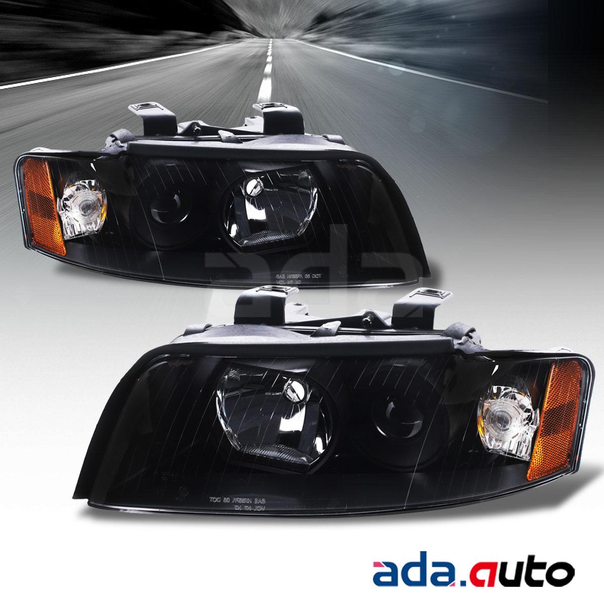 2002 2005 audi a4 s4 type 8e 8h factory style black headlights left right set. Black Bedroom Furniture Sets. Home Design Ideas
