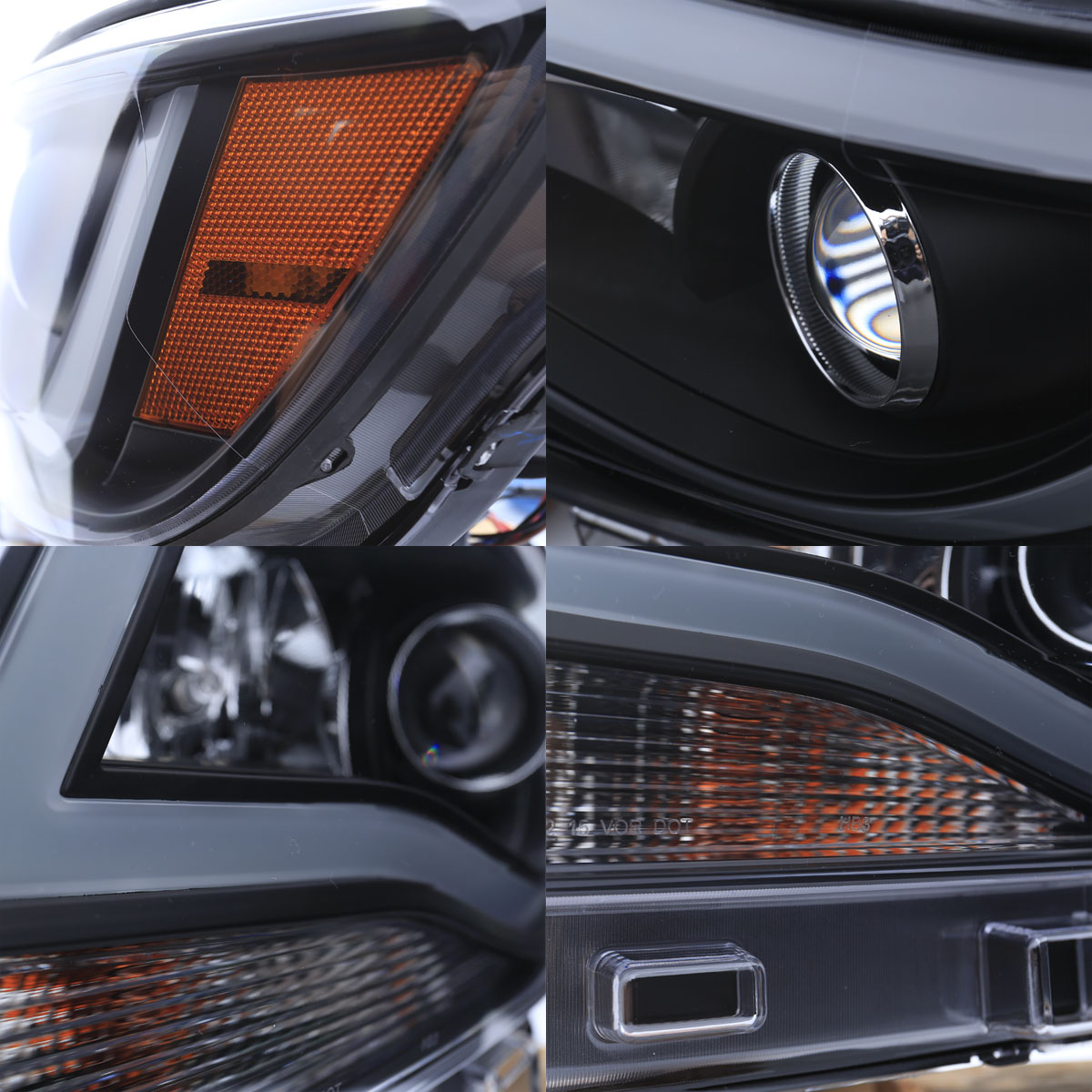 Set Black Fog Lamp Spot Light Fit Chevrolet Colorado: 2015-2017 Chevy Colorado [Neon Frost Tube] Projector Black