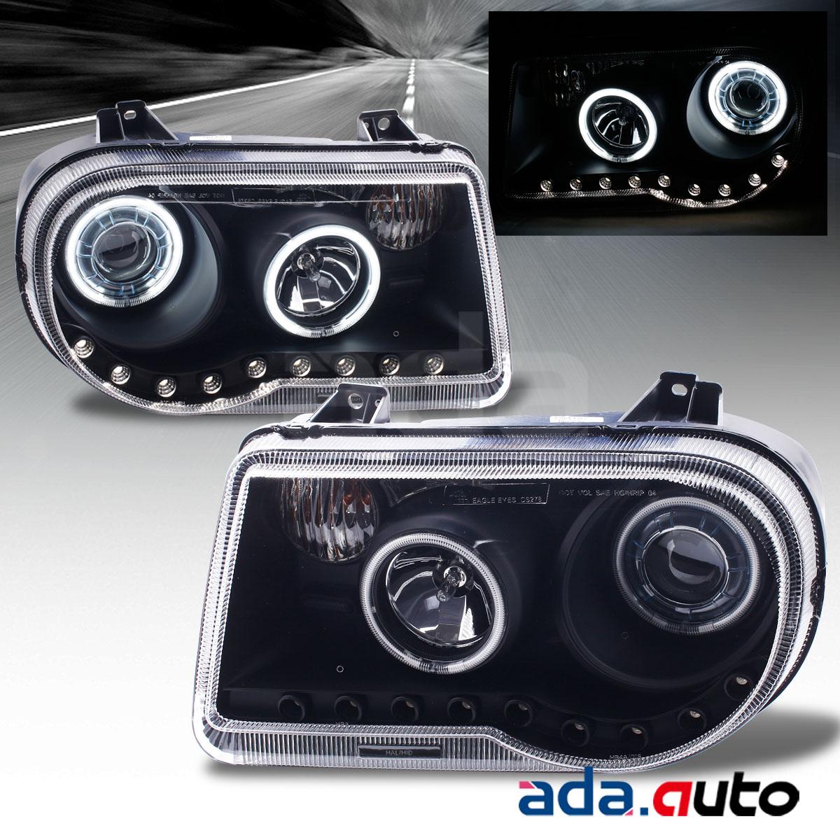 2005 2006 2007 Chrysler 300c Srt8 Clear Black Headlights: 2005-2010 Chrysler 300C [Dual CCFL Halo] Projector LED DRL
