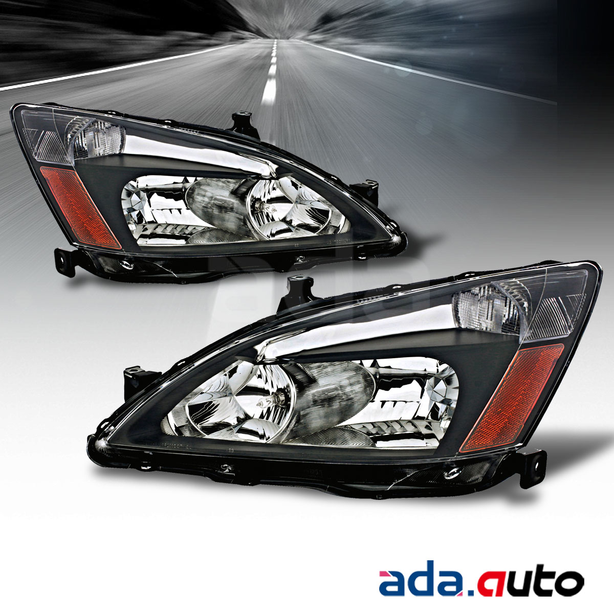 For 2003 2007 Honda Accord Sedan Coupe Factory Style Black Tail Light Headlights Set