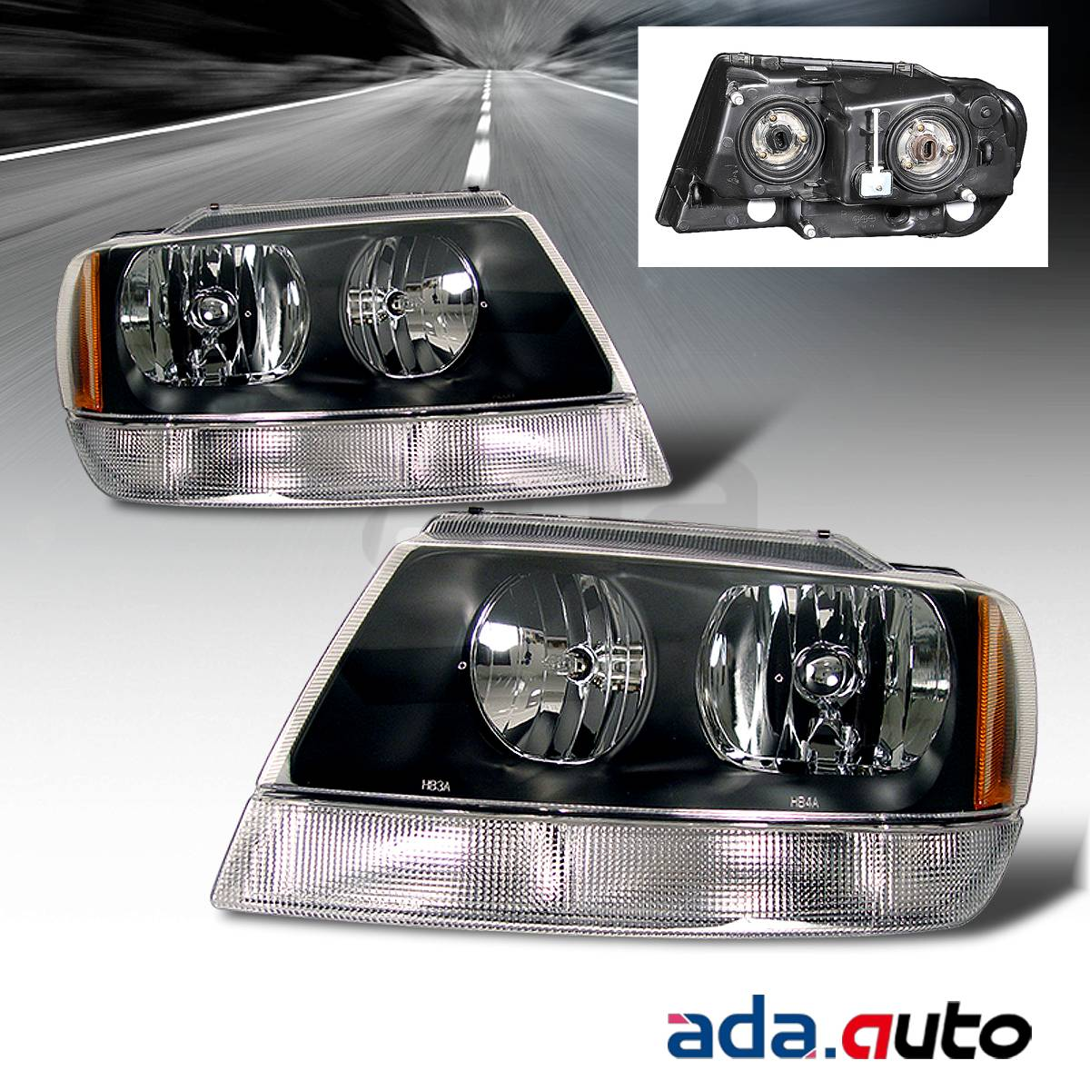 1999 2004 jeep grand cherokee black headlights replacement lamps pair ebay. Black Bedroom Furniture Sets. Home Design Ideas