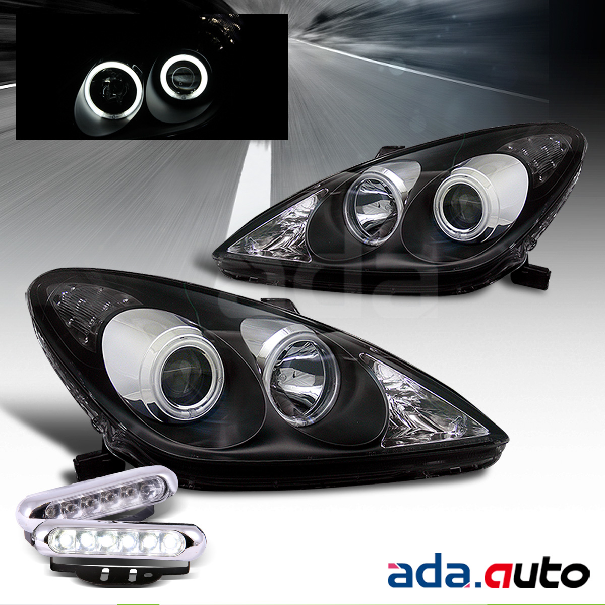 For 02-03 Lexus ES300/04-06 ES330 CCFL Halo Projector Headlights+LED Fog  Lamps