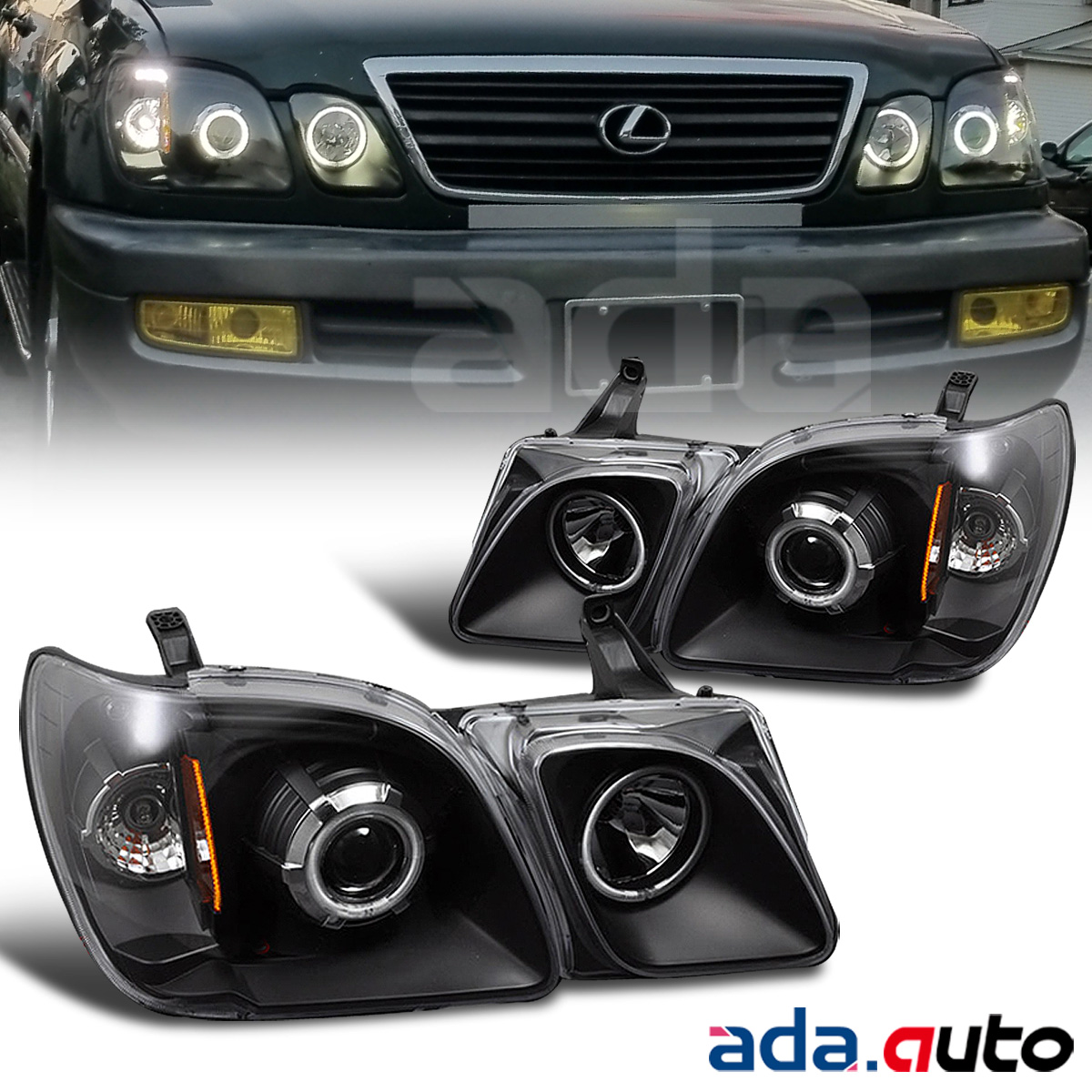 For 1998-2007 Lexus LX470 [Dual CCFL Halo] Projector Black Headlights Lamps  Set