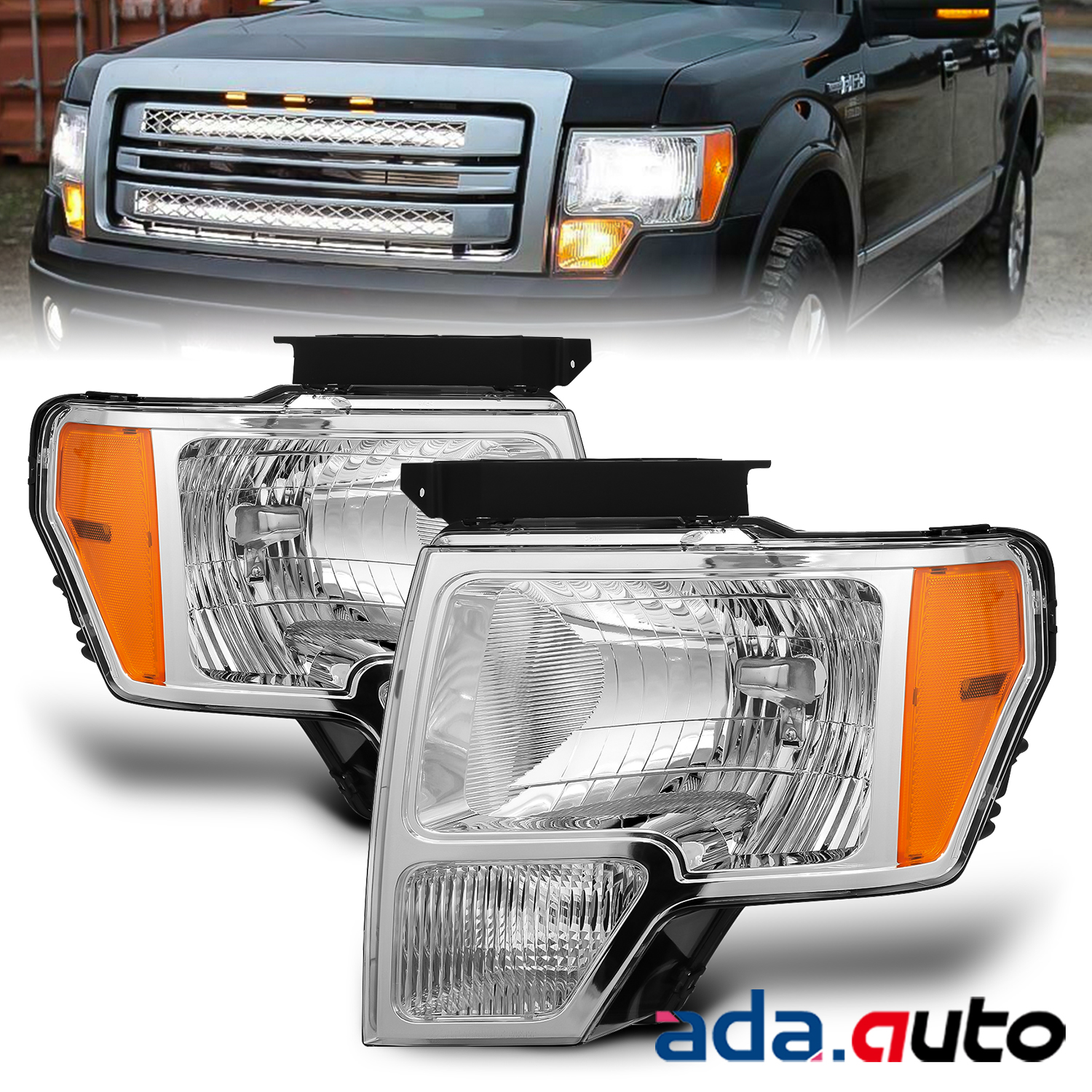 Fit 2009-2014 Ford F-150 Pickup Factory Style Chrome Headlights Head Lamps Pair