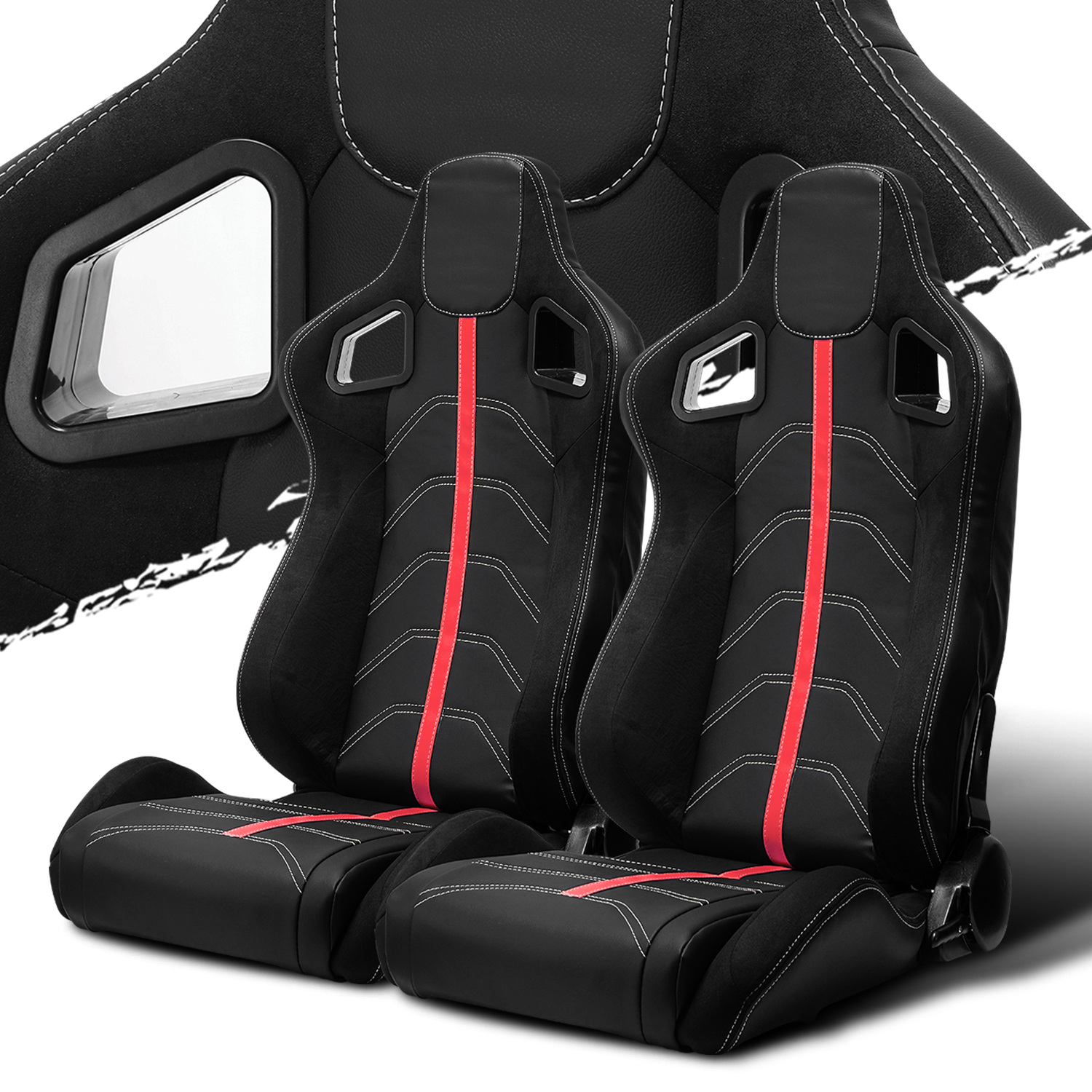 Recaro Style Speed Racing Seats Pvc Suede Leather Jdm Red Stitch Left Right Ushirika Coop