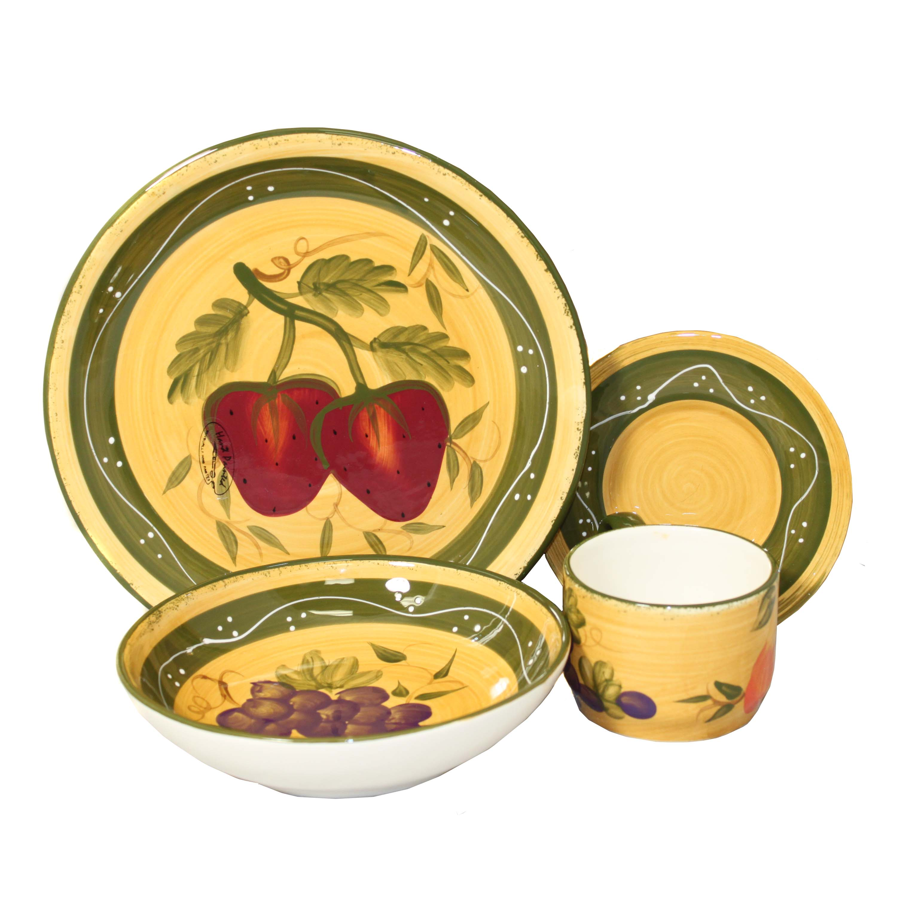 Tuscan Collection Deluxe 16-Piece Hand-Painted Dinnerware