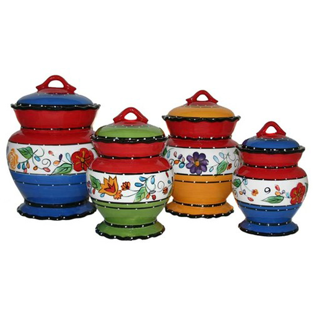 kitchen canister set viva collection deluxe handcrafted 4 piece kitchen canister set 8465
