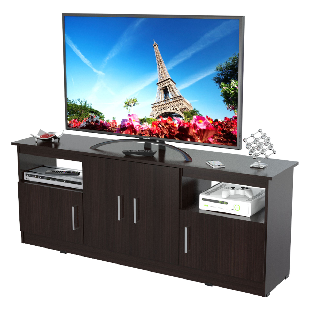 inval contemporary 60 flat screen tv stand espresso wengue. Black Bedroom Furniture Sets. Home Design Ideas