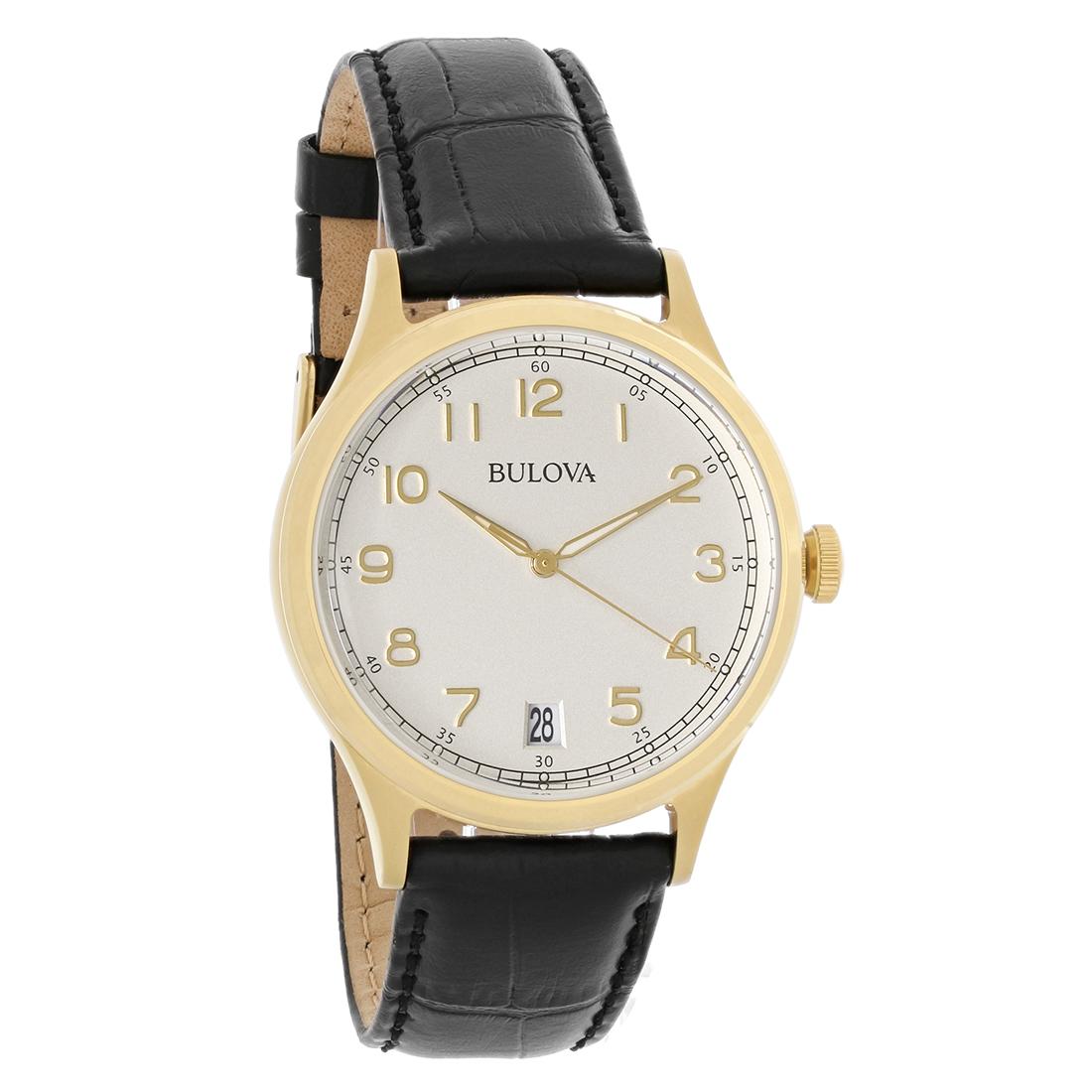 Bulova classic mens gold black leather strap quartz watch 97b147 ebay for Black leather strap men