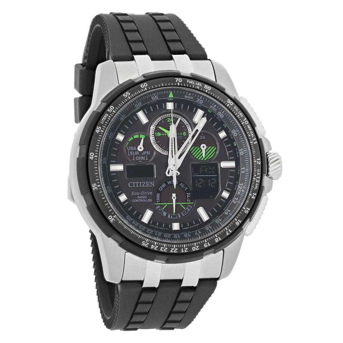 Citizen skyhawk a t mens alarm flight eco drive chronograph watch jy8051 08e ebay for Eco drive watch