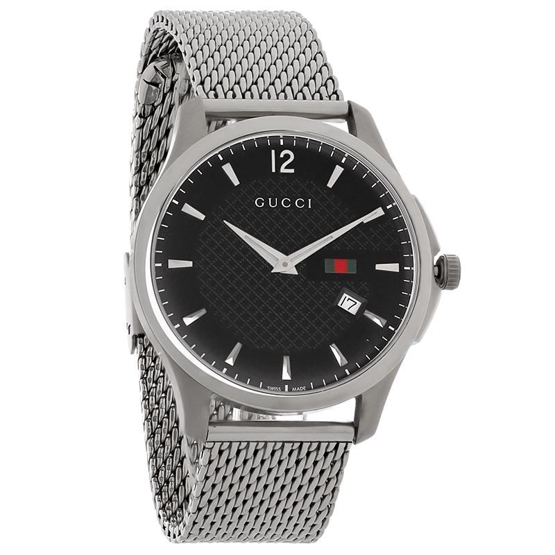 af2bb9930db Gucci 126 G-Timeless Mens Black Dial Mesh Bracelet Swiss Quartz Watch  YA126308