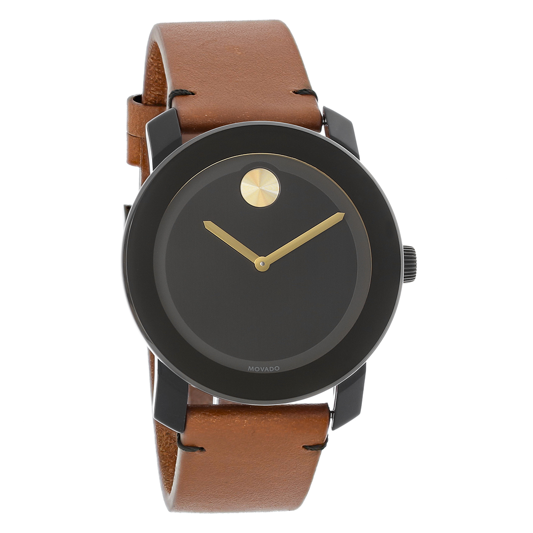 0c4738842 Movado Bold Series Mens Brown Leather Strap Swiss Quartz Watch 3600305