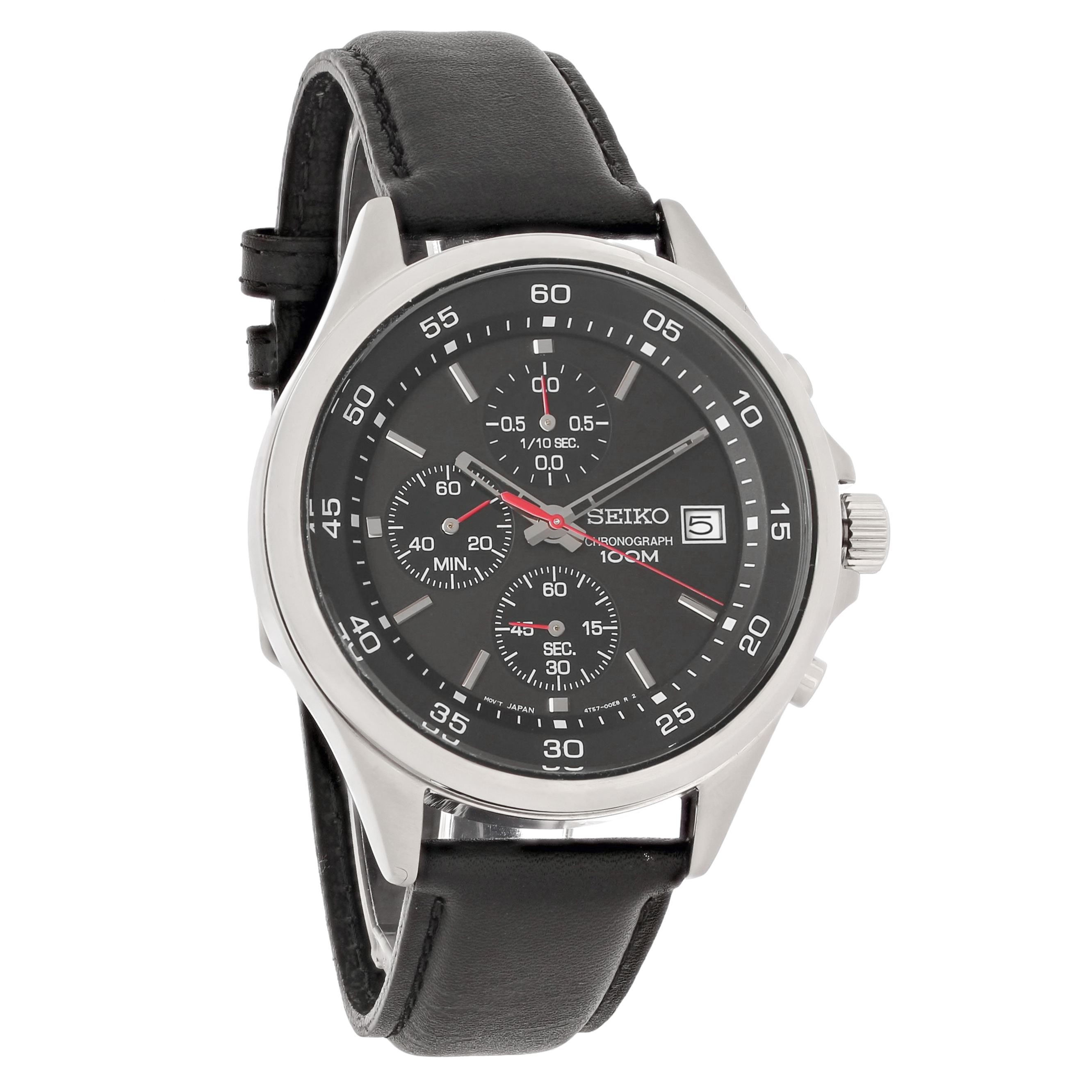 Seiko mens black dial leather strap chronograph quartz watch sks495 ebay for Black leather strap men