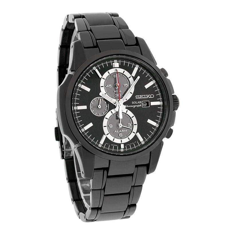a908b40432a Seiko Solar Mens Alarm Chronograph Black Ion Bracelet Watch SSC095 ...