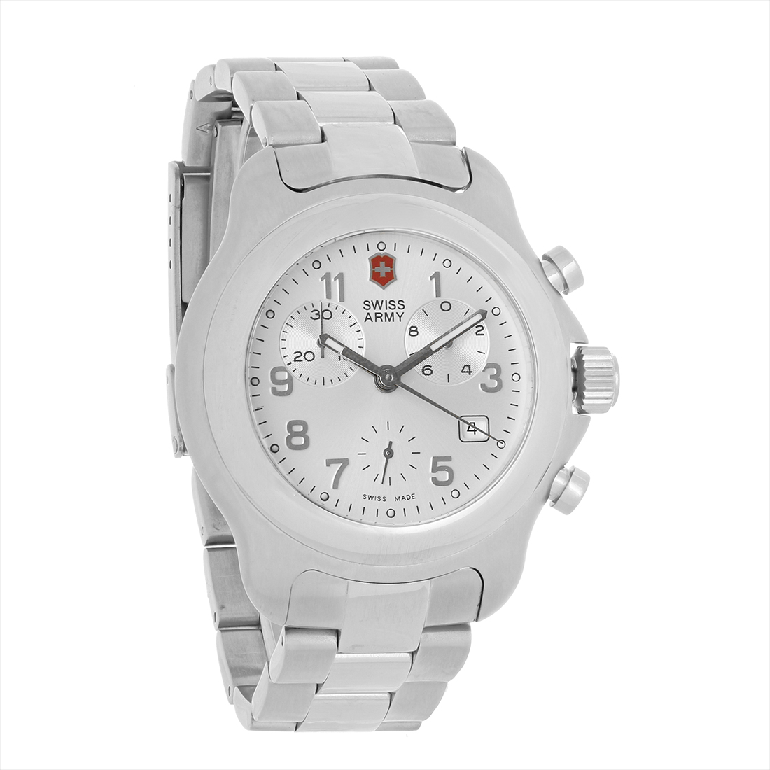 swiss army officers mens silver swiss chronograph quartz