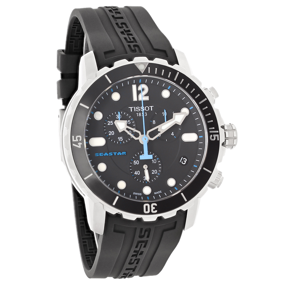 Tissot Seastar Mens Black Rubber Swiss Quartz Watch T066 ...