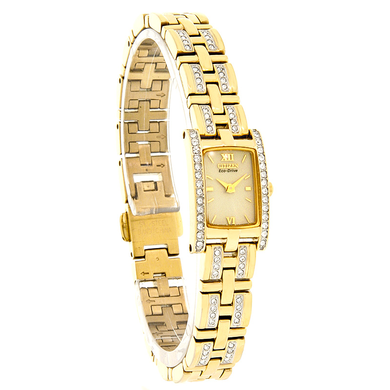 Citizen Eco-Drive Ladies Silhouette Crystal Gold Tone ...