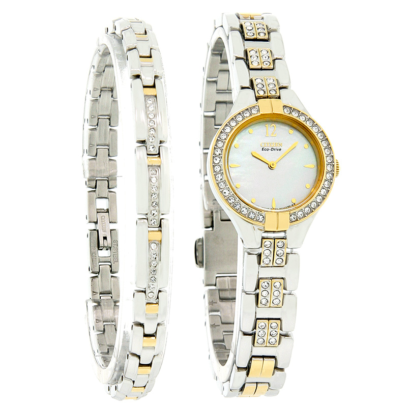 f386c3fb0afb Citizen Eco-Drive Womens Crystal Two Tone Watch 2 PC Gift Set EX1004-62D