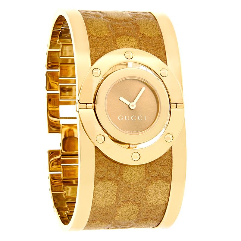 6ed01568778 Gucci Twirl Ladies Bronze GG Monogram Logo Bangle Gold Tone Watch YA112434