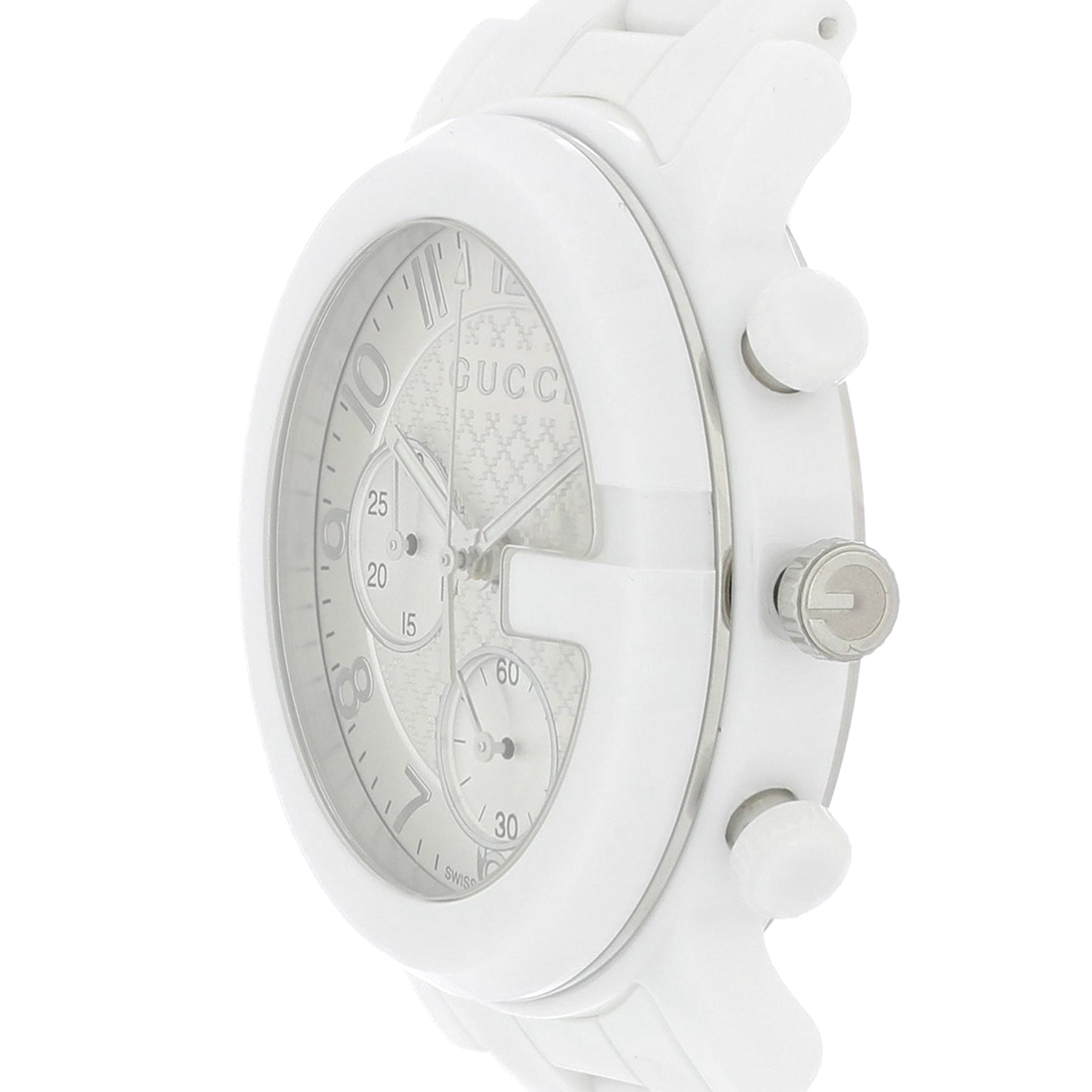 affbff7cf31 Gucci 101 G Ladies White Ceramic Swiss Quartz Chronograph Watch YA101353