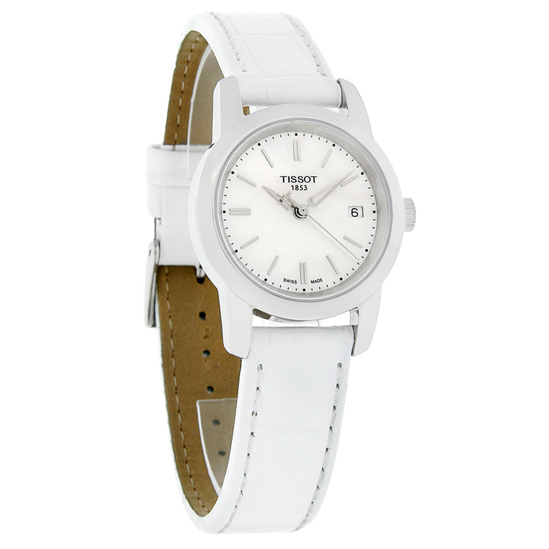 tissot classic dream ladies mop white leather band watch. Black Bedroom Furniture Sets. Home Design Ideas