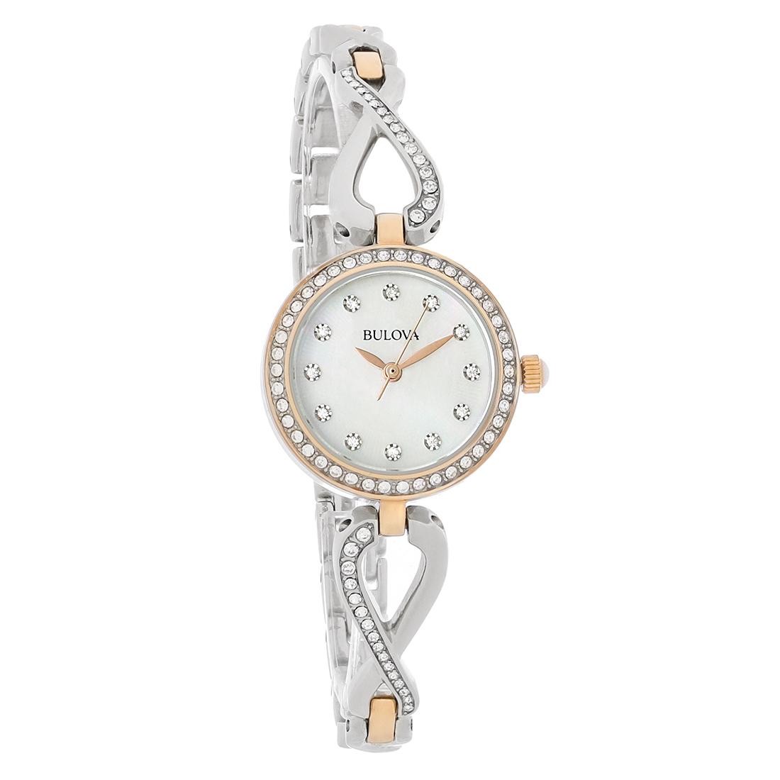 Bulova crystal ladies mop two tone bangle bracelet quartz watch 98x108 ebay for Ladies bangle watch