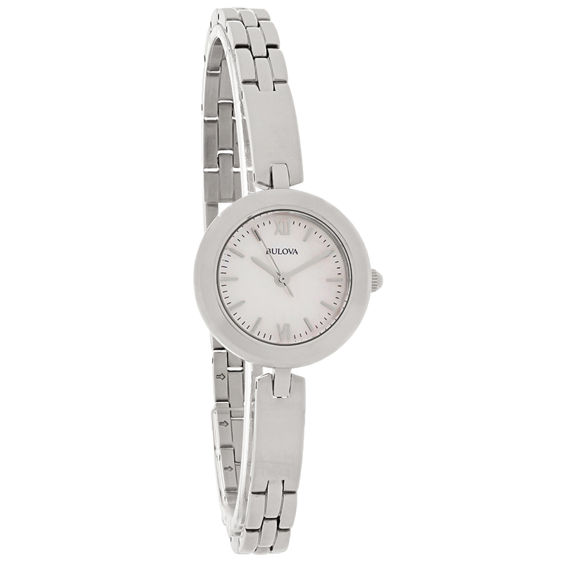 Bulova Mop Interchangeable Bezel Bangle Bracelet Quartz
