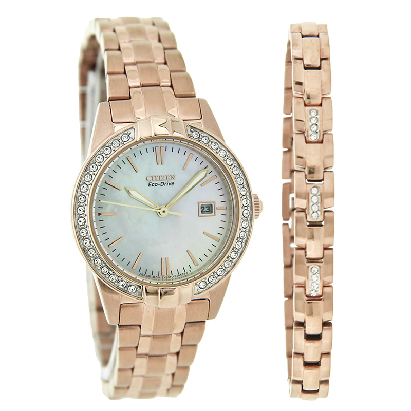 4fee0999f72b84 Citizen Eco-Drive Silhouette Ladies Crystal MOP Rose Gold Watch EW1683-65D
